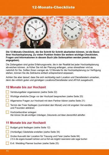 Auszug aus dem Hochzeitsbuch 100 Hochzeit-Checklisten: 12-Monats-Checkliste