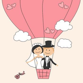 Luftballon zur Hochzeit mit Brautpaar