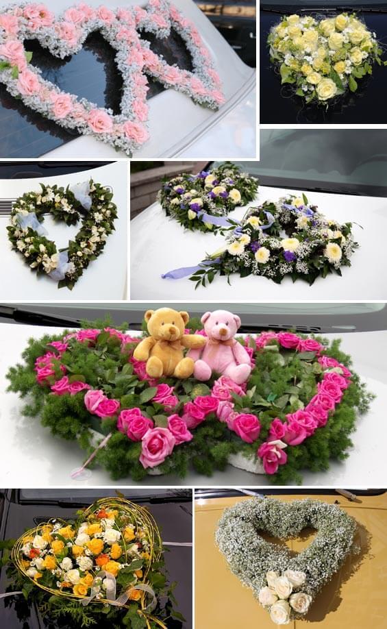 Autoschmuck zur Hochzeit in Herzform aus Blumen