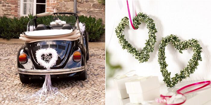 Autoschmuck Hochzeit Herz ausgefallen