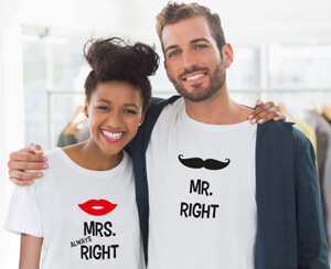 Partner-Shirts mit Mr. und Mrs.
