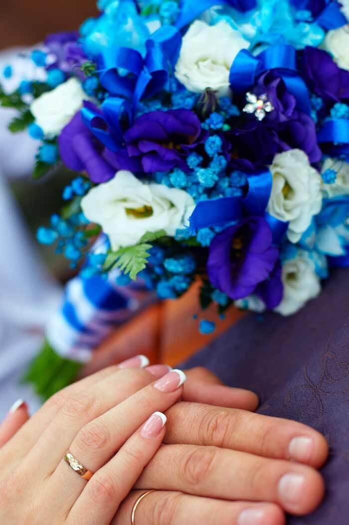 Brautstrauß blau