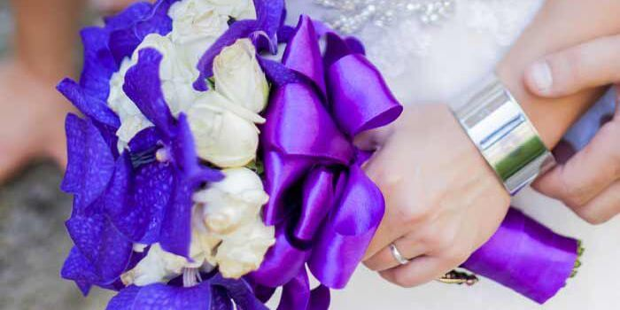 Brautstrauß weiß lila