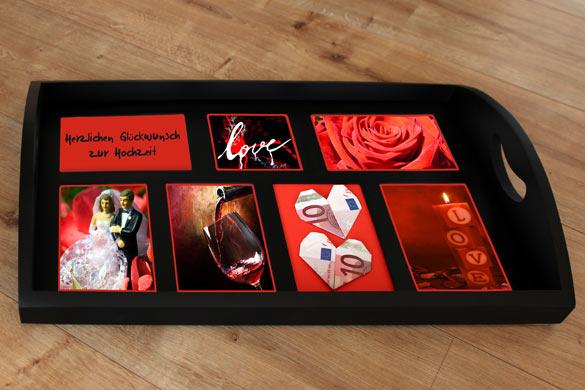 Hochzeitsgeschenk Fototablett