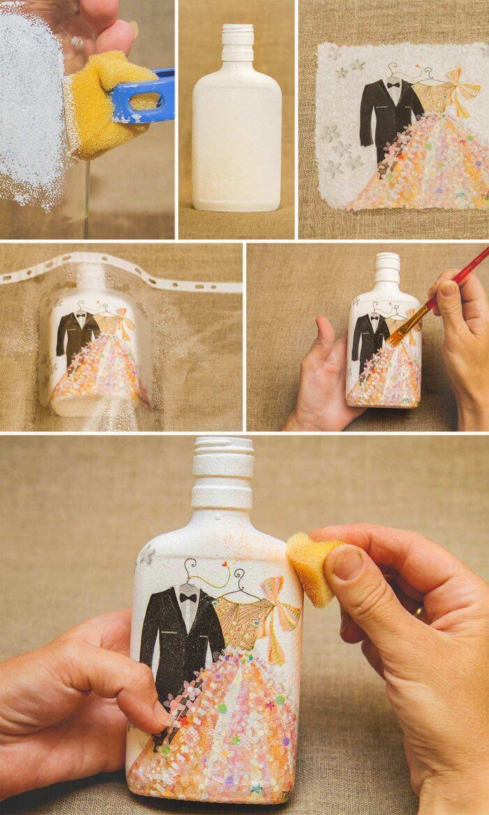 Flaschen Serviettentechnik