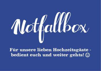Notfallbox Schild Blau
