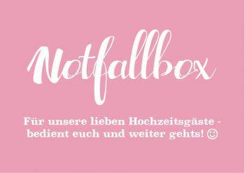 Notfallbox Schild Rosa