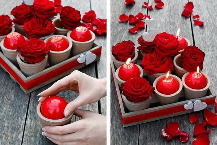 Romantische Tischdeko mit Kerzen