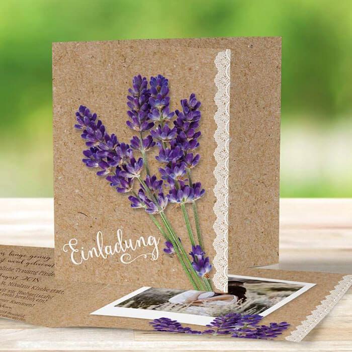 Einladungskarten Hochzeit Lavendel