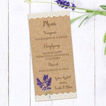 Lavendel Hochzeit Menükarte
