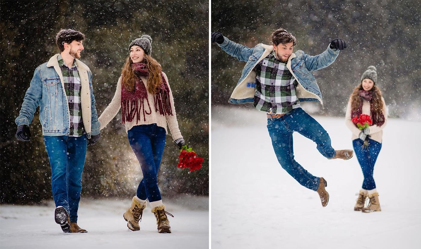 Heiratsantrag im Schnee