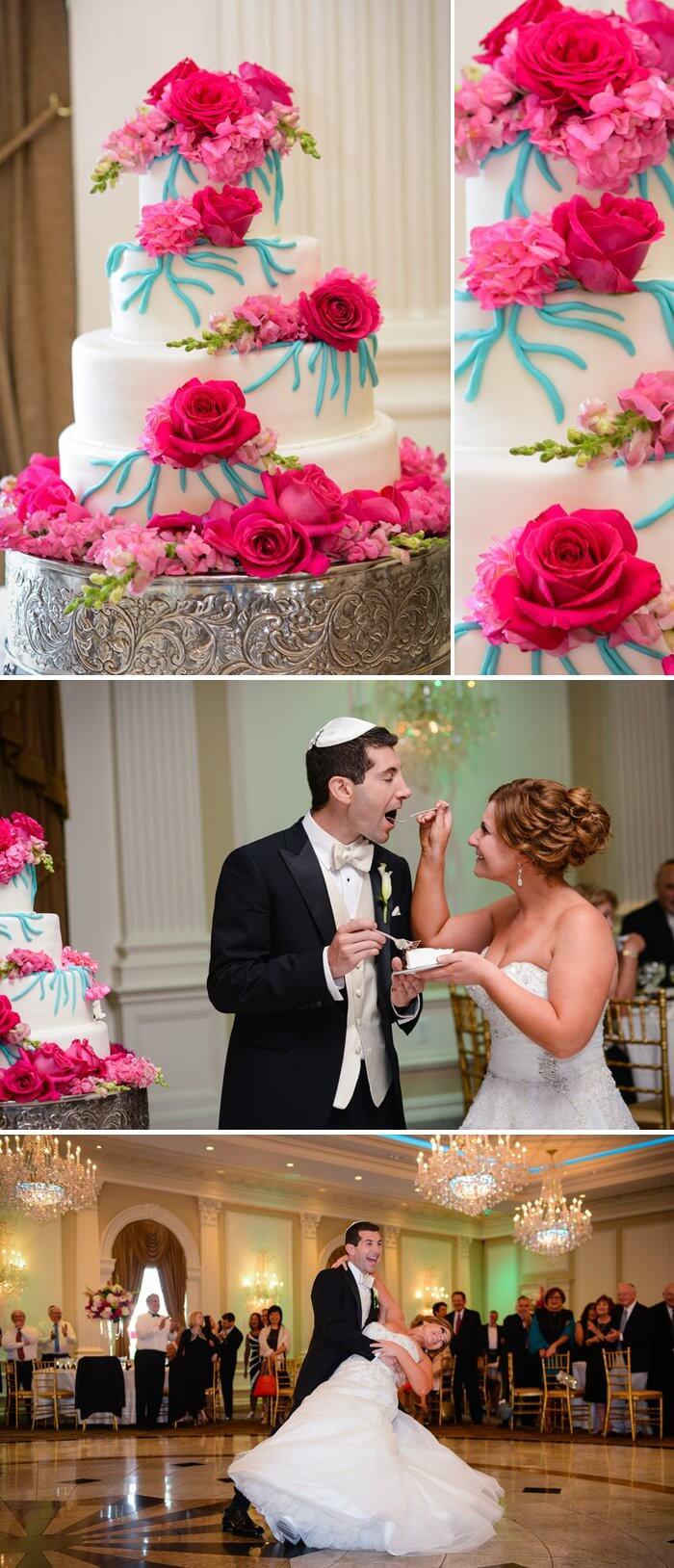 Hochzeitstorte Pink Blau
