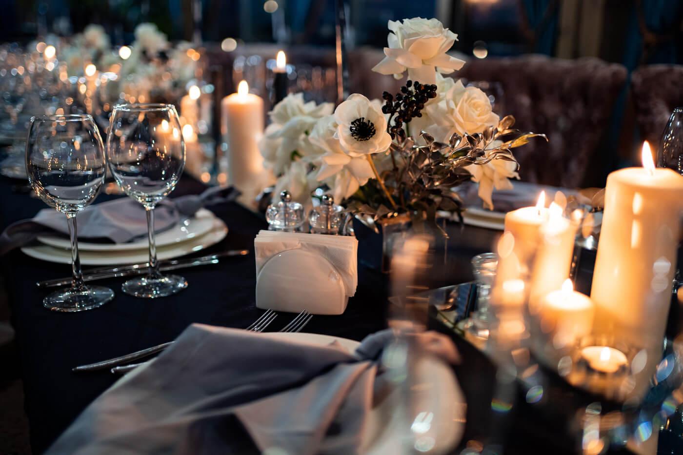 Tischdeko Hochzeit Schwarz Weiß