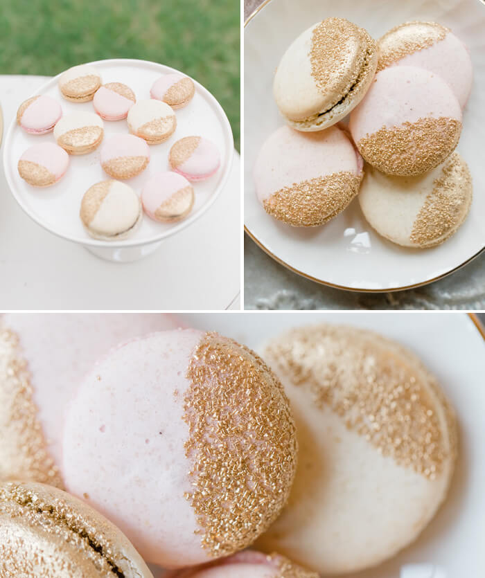 Macarons Hochzeit Gold