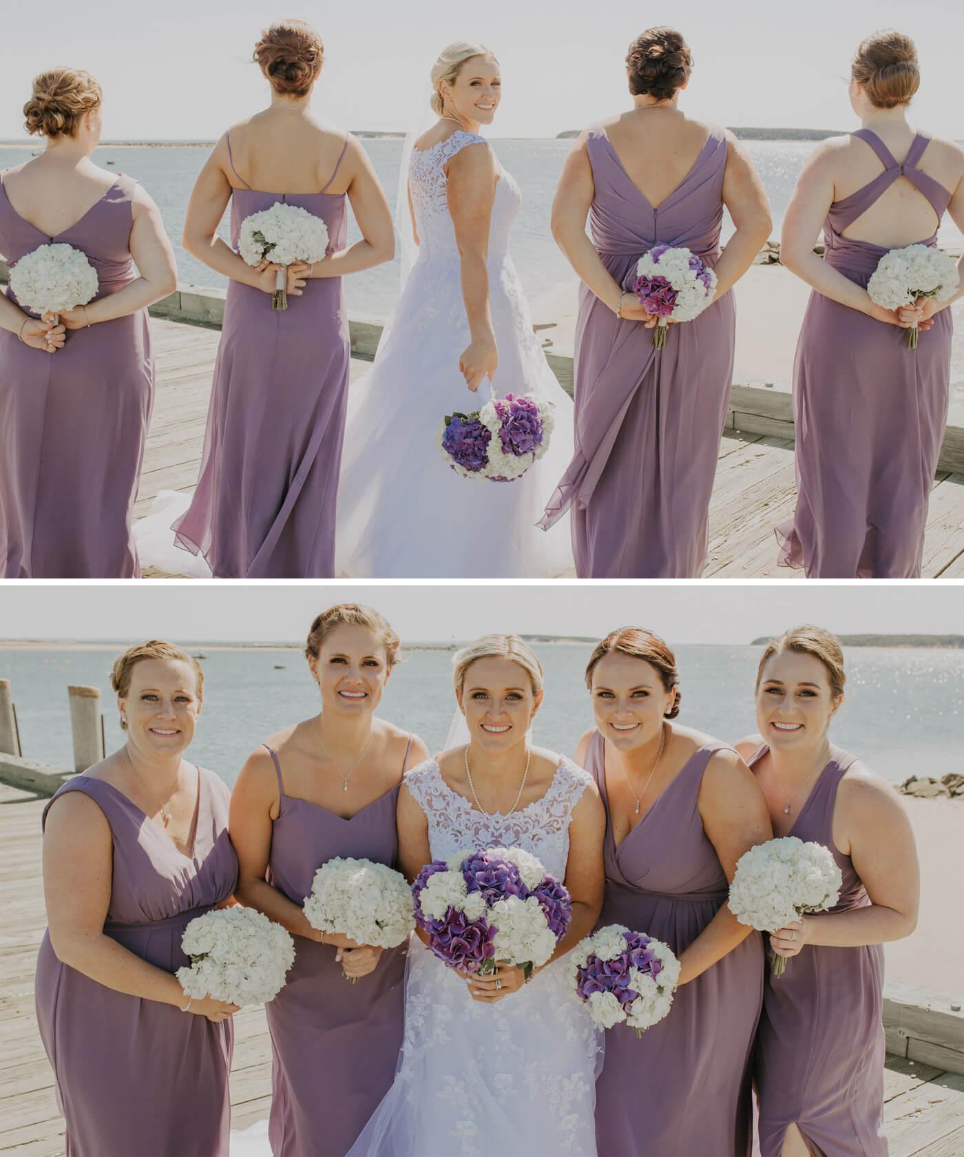Fliederfarbige Brautjungfernkleider