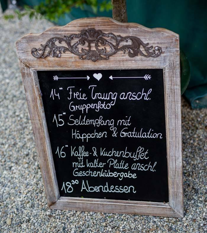 Ablauf Hochzeit Schild
