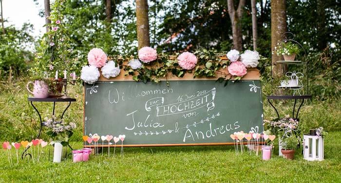 Willkommensschild Hochzeit
