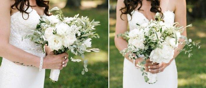 Brautstrauß mit weißen Blumen und Eukalyptus