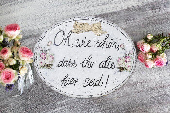 DIY Vintage Schilder selber machen zur Hochzeit