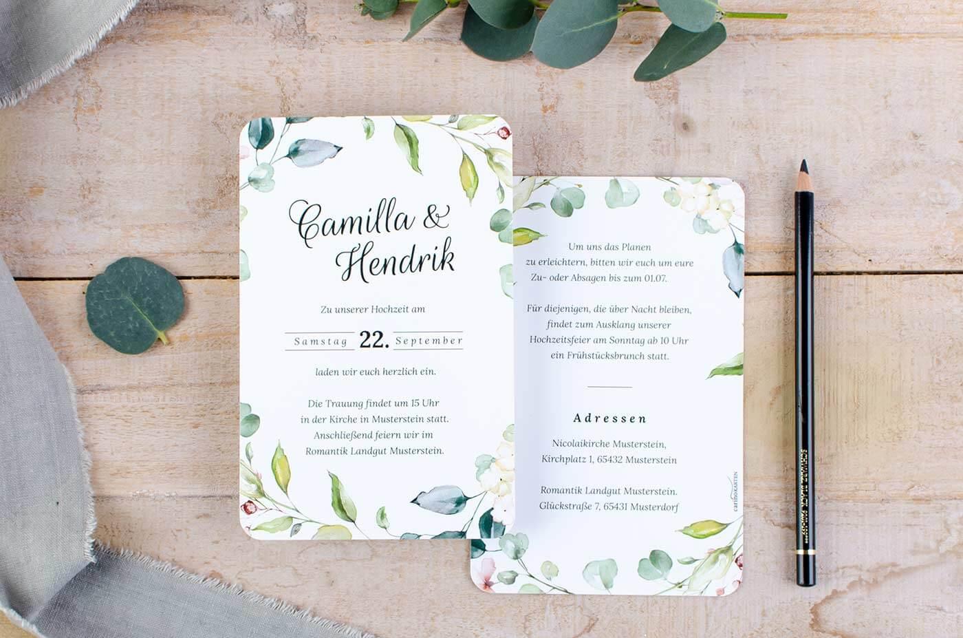 Hochzeitseinladungen Aquarell