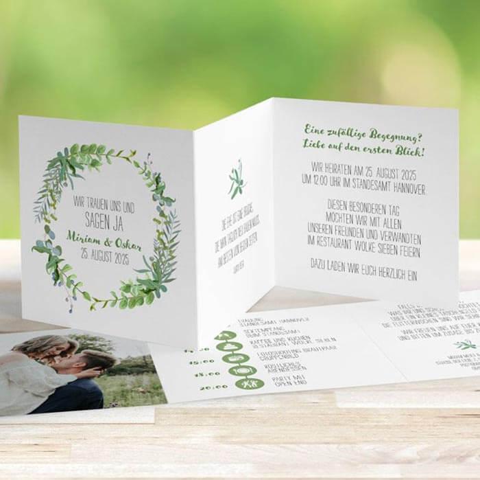 Hochzeitseinladungen grün