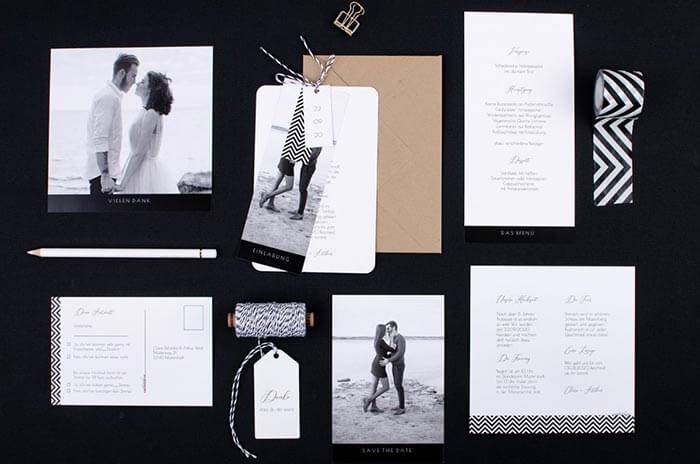 Hochzeitseinladungen schwarz-weiß