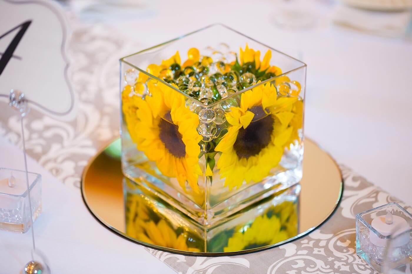 Hochzeitsdeko mit Sonnenblumen