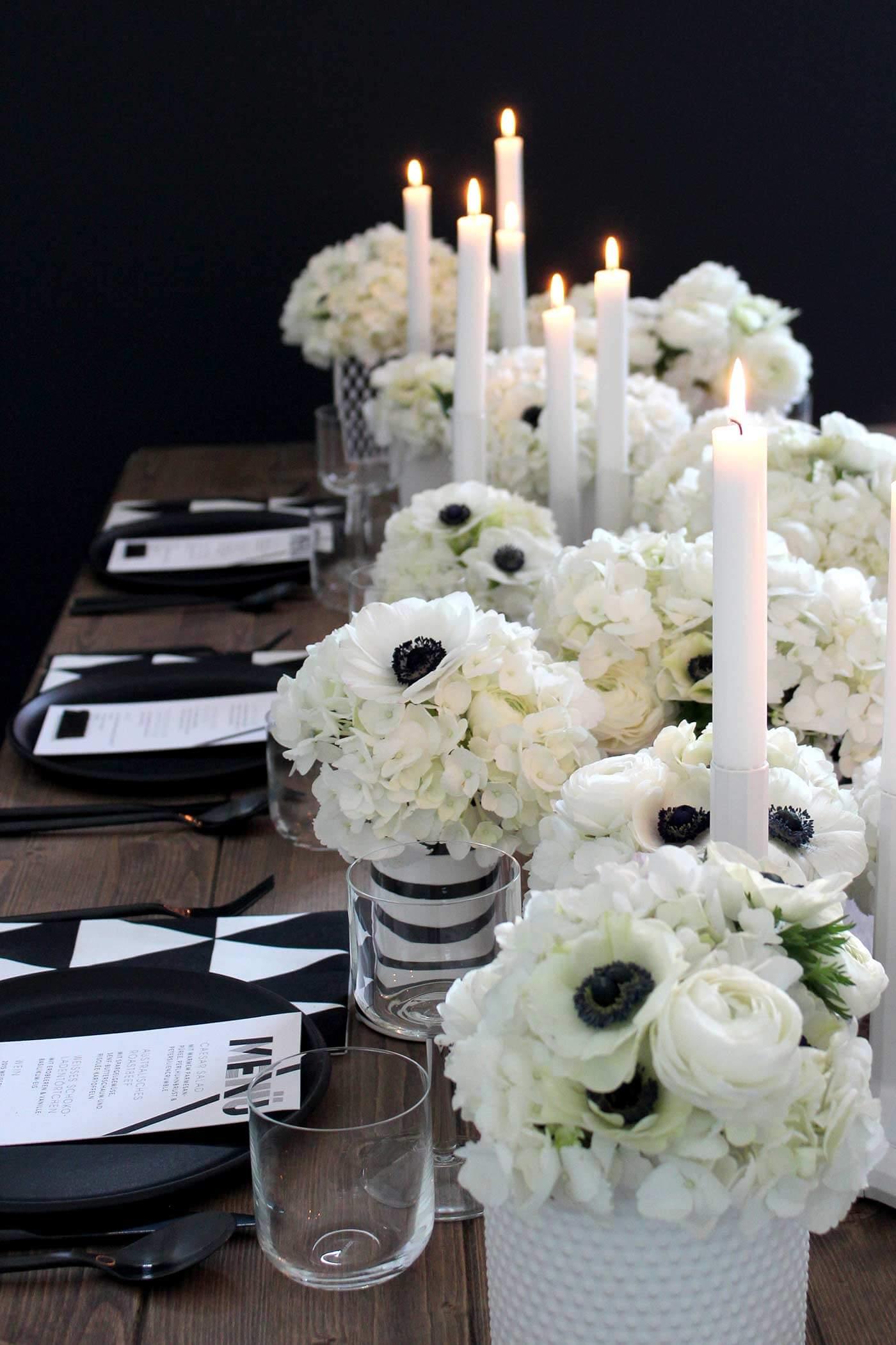 Hochzeitsdeko schwarz-weiß