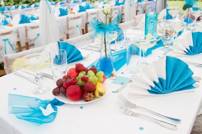 Tischdeko Blau