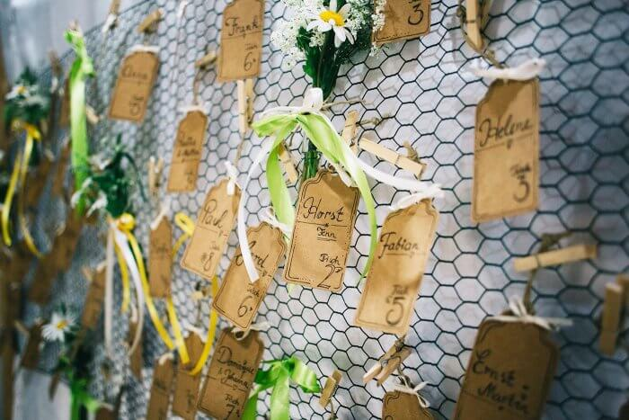 Ideen für Platzkarten zur Hochzeit