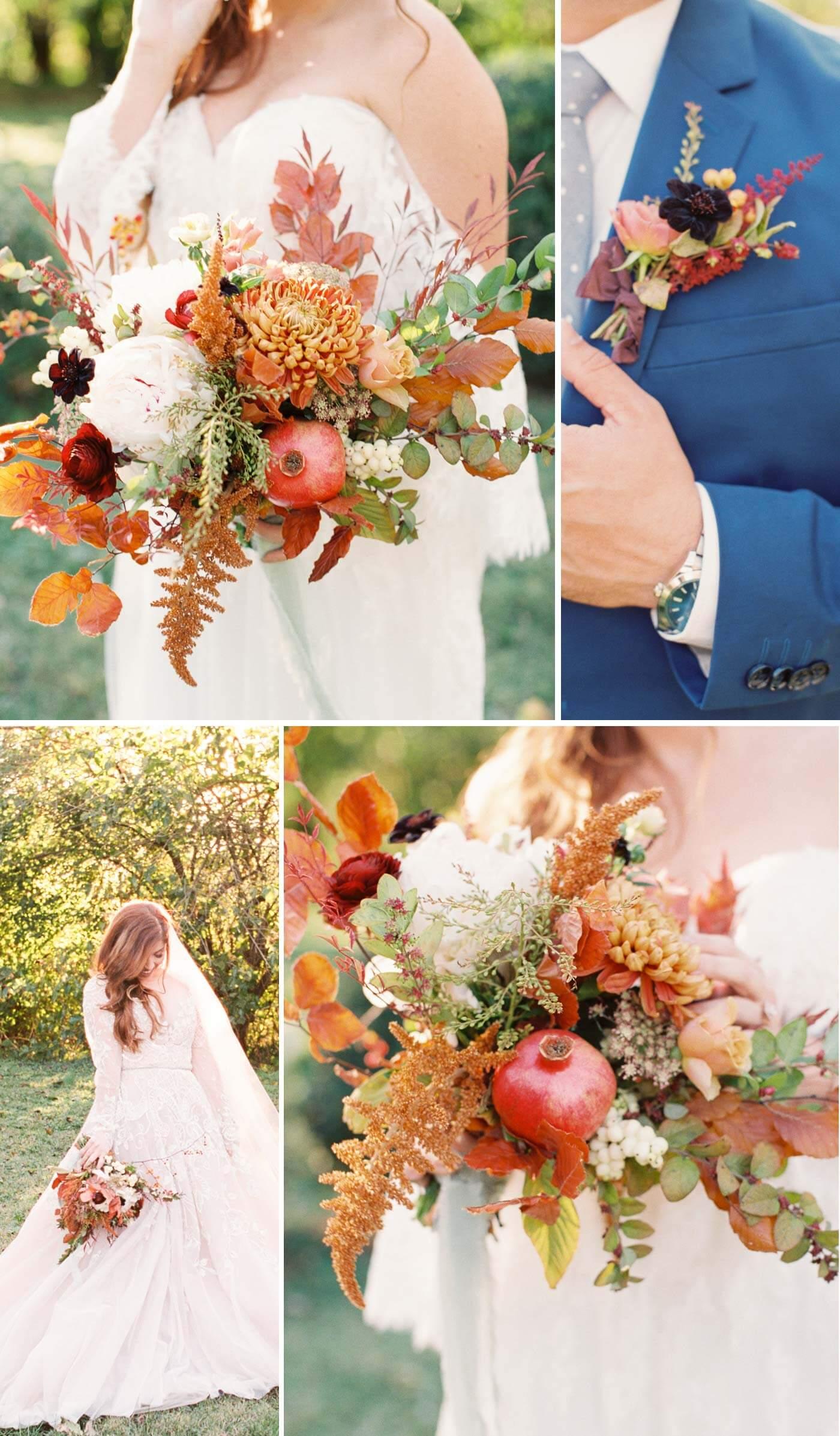 Herbst Brautstrauß Granatapfel