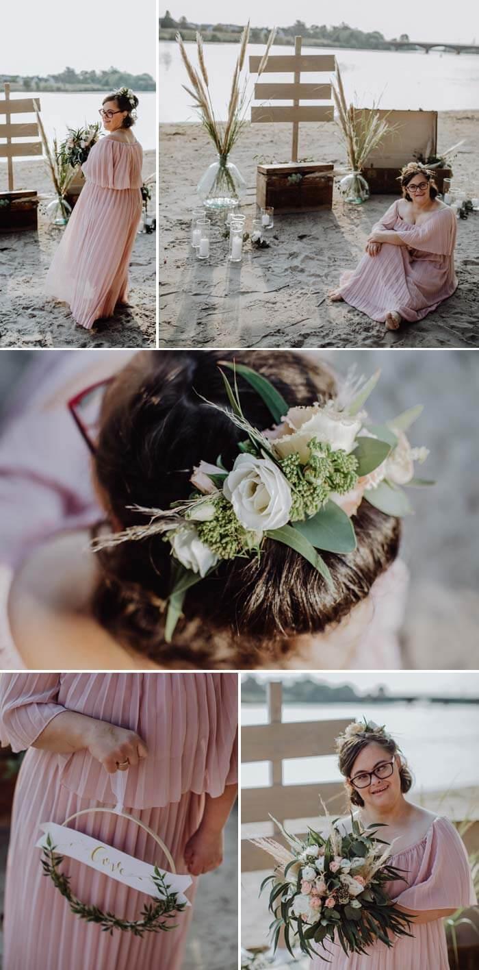 Braut Model mit Down Syndrom