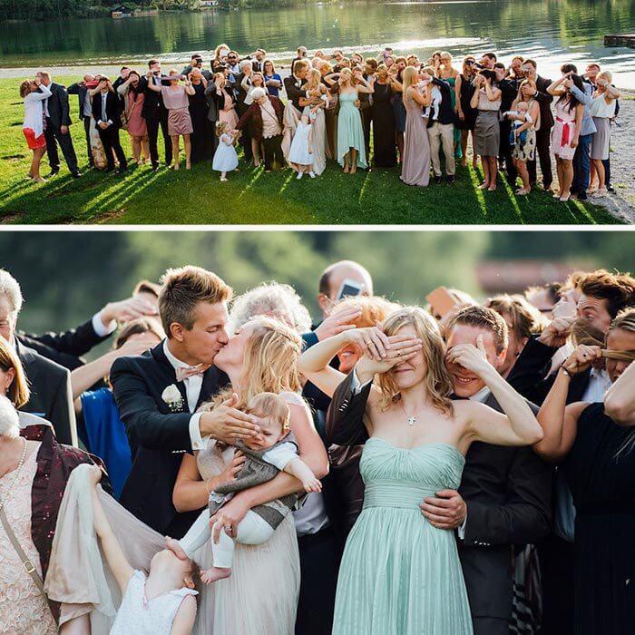 Hochzeitsbilder lustig Kuss vom Brautpaar