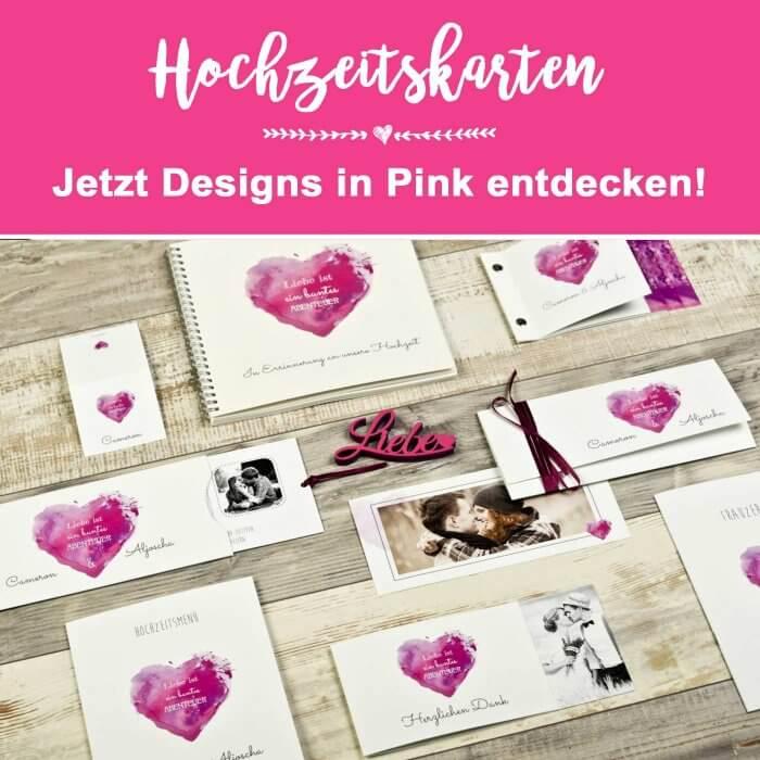 Hochzeitskarten in Pink