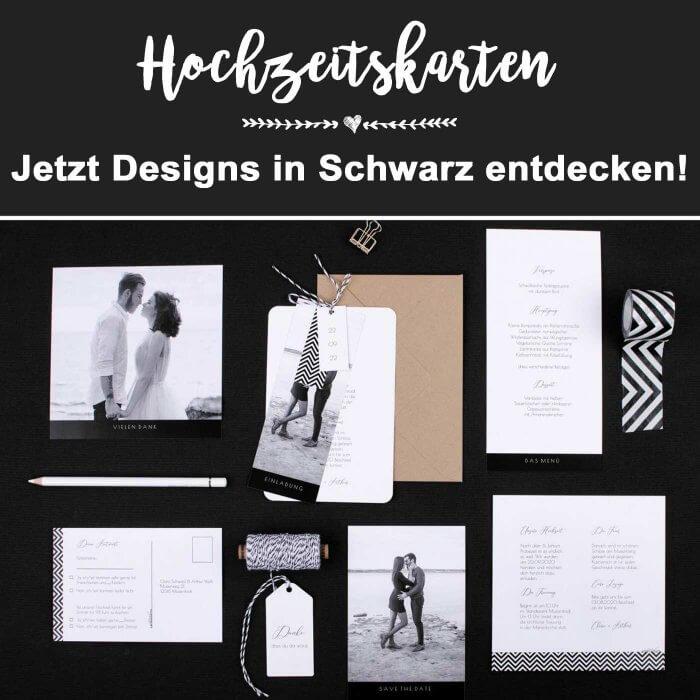 Hochzeitskarten in Schwarz