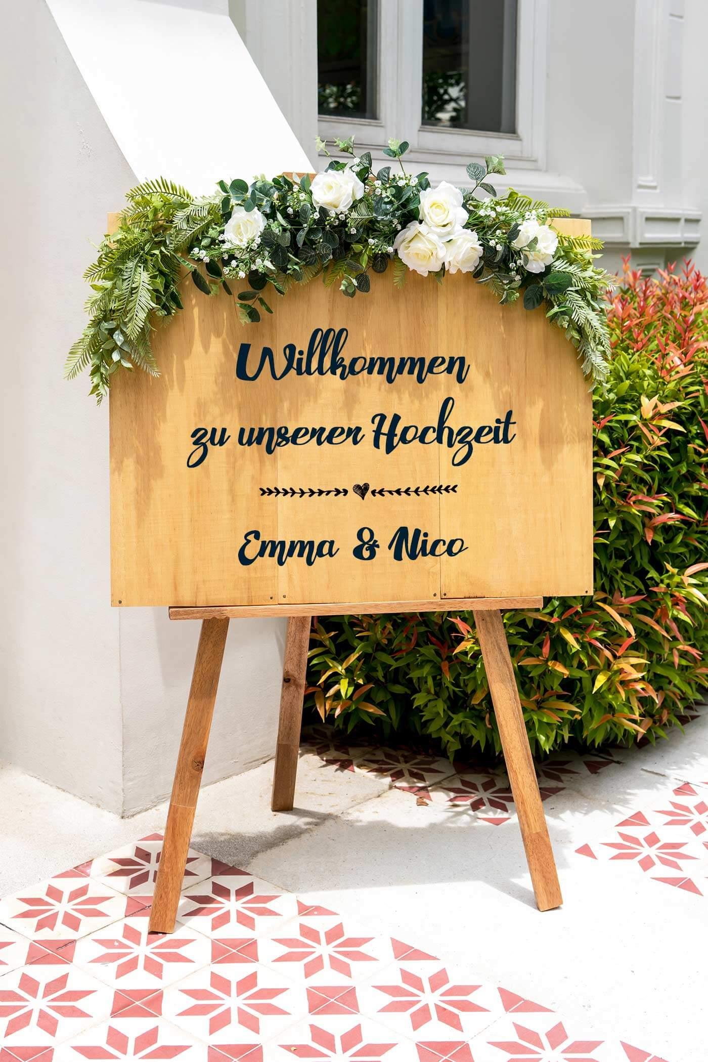Hochzeit Willkommensschild