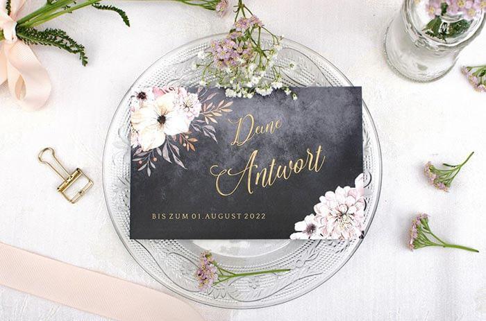 Hochzeitseinladung mit Antwortkarte
