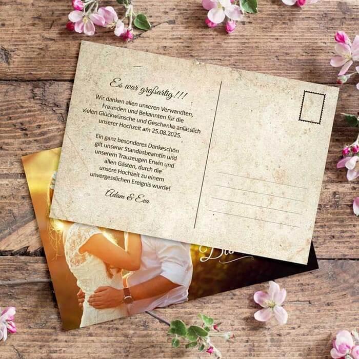 Dankeskarten Hochzeit Postkarte
