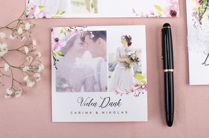 Danksagungskarten Hochzeit vintage