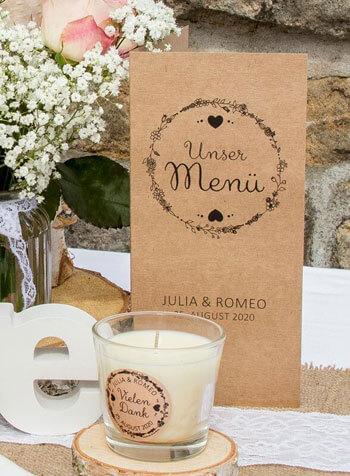 Menükarten Hochzeit Kraftpapier