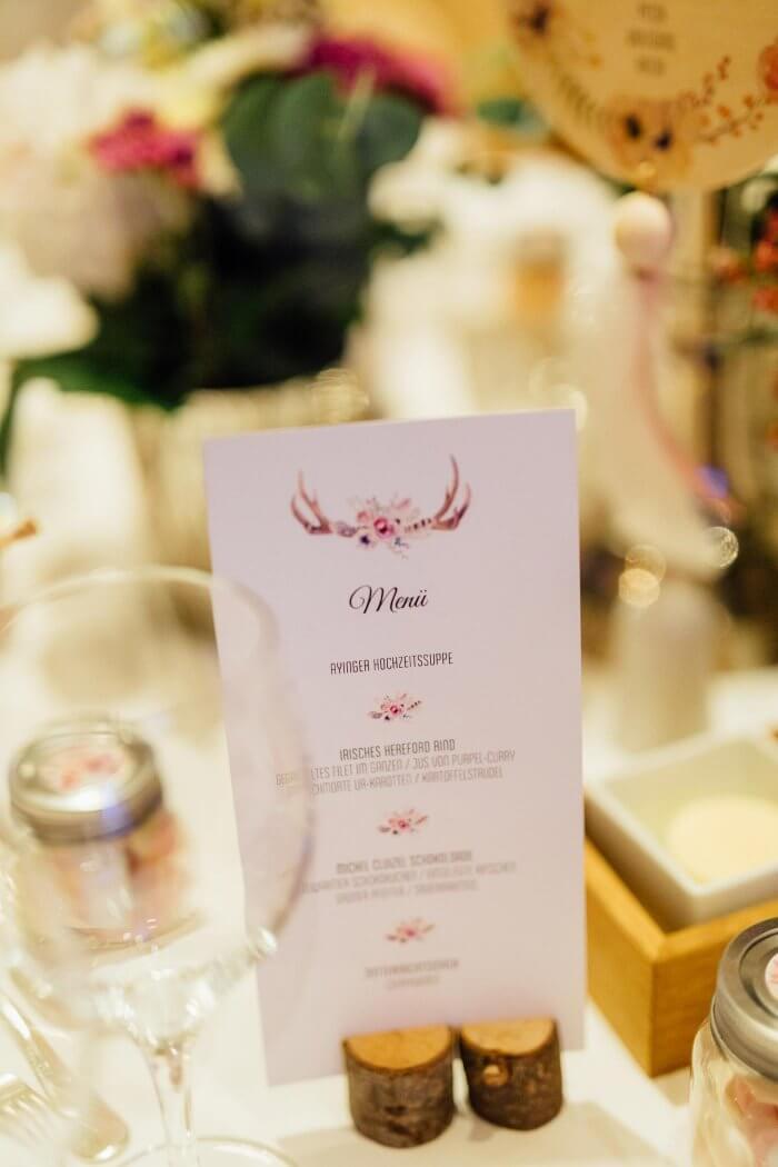 Menükarten zur Hochzeit